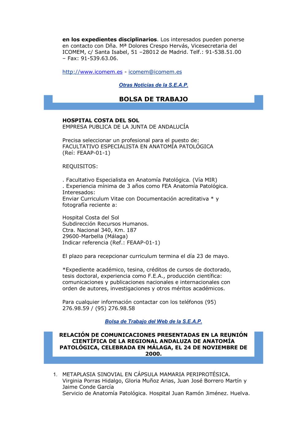 Post-USCAP 2015 - Sociedad Española de Anatomía Patológica