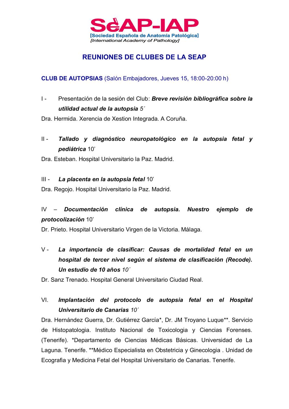 Reunion de Clubes - XLI Reunión Anual SEAP 2018.pdf - Patología de ...