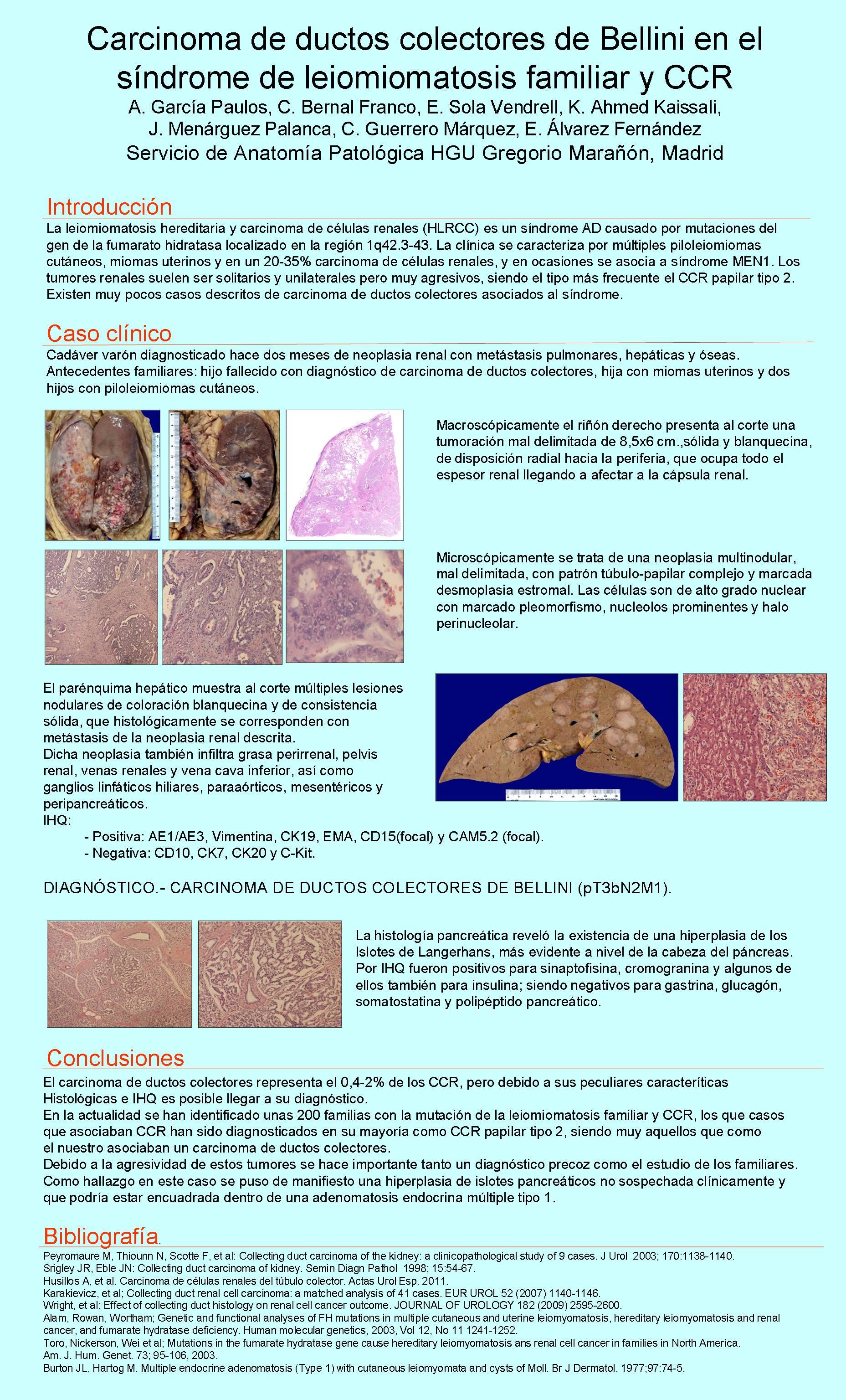 PosterXXXVSEAP010 - Carcinoma de ductos colectores de Bellini en el síndrome de leiomiomatosis hereditaria y CCR.